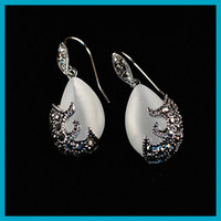 1pair tibetan silver and Water- drop- shaped white Opal Cat&#0...