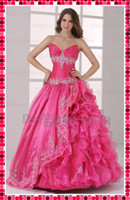 Model Pictures Sweetheart Organza WoW! New Amazing Sexy Quinceanera Dress Ball Gown Embroidery Hot Pink Organza Evening Prom Dresses