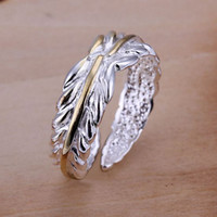 Wholesale Gilded Feather Open Top sales Silver High quality Nobl fashion chearm Ring Gift Jewelry R18
