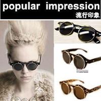 Fashion american steam - European amp American Vintage steam Punk Bunk Flip Retro Sunglasses Metal Round Frame Sunglasses
