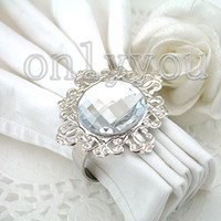 Iron ECO Friendly white Large quantity for free DHL and 50% off,50pcs Clear White Gem Napkin Ring ,Silver-tone Metal Rings,best quanlity wedding favor Supplies