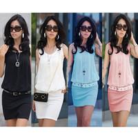 Chiffon sundresses - New Summer Women s Mini Dress Crew Neck Chiffon Sleeveless Causal Tunic Sundress colors