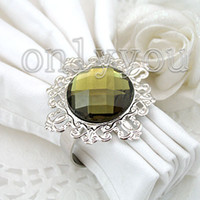 Wholesale Factory directly sell Sage Green Gem Napkin Ring best quanlity wedding favor
