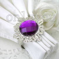 Wholesale Factory directly sell Purple Gem Napkin Ring bulk order for lowest price and free DHL