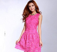 Wholesale 2013 Summer Embroidery SunFlowers Women Sleeveless Dress Ladies New Fashion Lace Casual Dress Drop
