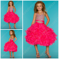 Wholesale Cupcake Halter Top Sugar Pageant Dress Cupcake Rhinestone Covered Hot Pink Pageant Dresses OX567