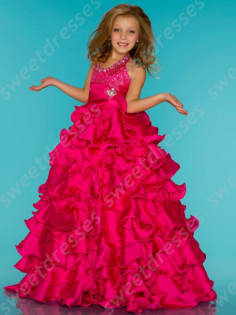 Long Halter Pageant Little Girl'S Dresses A Line Ruffled Skirt ...