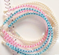 plastic headbands - Women Pearl Headband Colorful Resin Crystal Beads Headbands Fashion Hair Bands Jewelry
