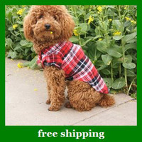 Wholesale Hot selling Pet clothes cotton Dog casual plaid T shirt red green dogs coat S M L XL