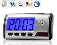 Wholesale sample Clock spy camera Spy hidden camera sliver Clock High definition HD M With Remote Control