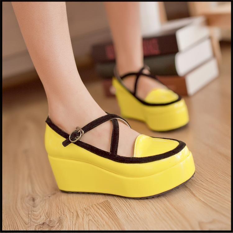 HARAJUKU women round toe Creepers platform shoes CREEPER shoes Goth high Platform flat creeper shoes S062227