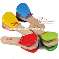 Wholesale wooden handle castanet child musical instrument orff knock instrument toy