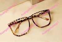 Wholesale 1pcs New women men retro leopard big black box plain glass spectacles frame
