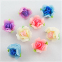 Wholesale YBB Mixed Polymer Fimo Clay Flower with Leaf Spacer Beads mm E357