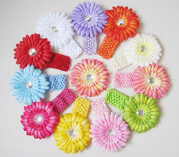 Wholesale Best Deal Crochet Headbands Gerbera Daisy Flowers Baby Hairbows Headbows