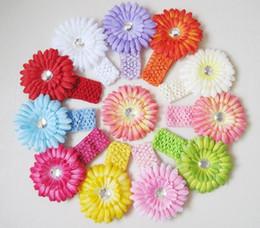 Wholesale Best Deal Crochet Headbands Gerbera Daisy Flowers Baby Hairbows Headbows