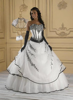 Organza black and white evening dresses - White and black organza lace Quinceanera Wedding Bridal Bridesmaid Gown Prom Ball Evening dresses