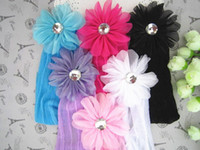 Wholesale Freeshipping NEW baby flower with diamond headbands hairbands Hair Accessories