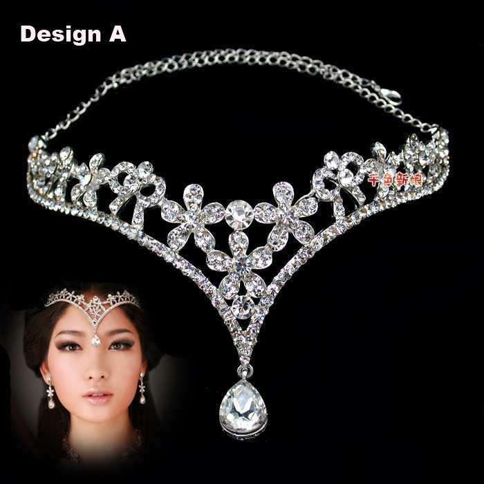 fashion crystal tiara crown hair accessories for wedding quinceanera hair chain pageant hair jewelry