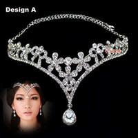 Wholesale Fashion Crystal Tiara Crown Hair Accessories For Wedding Quinceanera Hair Chain Pageant Hair Jewelry