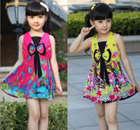 TuTu Summer A-Line Girl dresses kids dress china style girl dresses new China Girl fashion flower dress Girls bow Dress girl folk style dress 8pcs lot