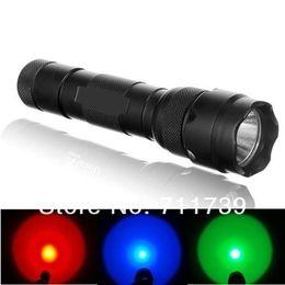 USA EU Hot Sell WF-502B CREE Red Green Blue LED Flashlight Torch Signal Lamp Light Powered