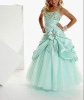 Wholesale New Hot Sale Blue Spaghetti satin organza Girls Formal Part Pageant Wedding Dresses Custom Size