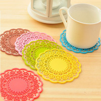 Wholesale Silica gel mixed color exquisite Lace cup pad tea mat coffee cup pad Charm practical good cup Pads