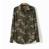 Women other Long Sleeve Shirts western spring army green shirt new camouflage rivet pocket uniformed lapel long-sleeve shirt