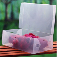Wholesale pieces cover CLEAR plastic shoes box FOLDABLE storage box for SHOES lady s size