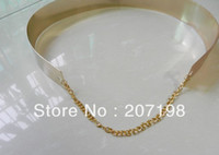 Wholesale Fashion women Embellished Gold silver Full Metal plate Metallic Mirror waist Belt Corset chain decoration