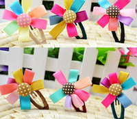 Wholesale promotion Fashion Girls Kids Baby button Rainbow petals hair clips Hair Accessories G