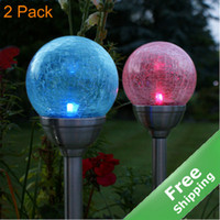 Wholesale Crackle Glass ball Solar Stake Light Stainless steel finished solar powered Free ship