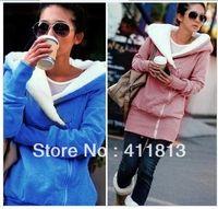Basic Style basic zip hoodie - Korea Women Hoodies Warm Zip Up Outerwear Sweatshirts Colors Blue Pink