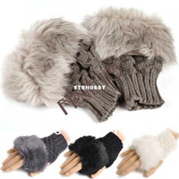Wholesale Gloves Arm Warmer Fingerless Gloves Knitted Fur Trim Gloves Mitten