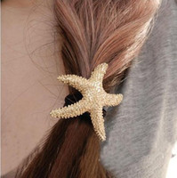 Wholesale Europe style hair rope fashion joker gold starfish pendant with metal texture hair jewelry free ship
