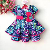Wholesale New Arrival Bonnie Baby Dress Girl Colorful Flower Dresses Butterfly Kids