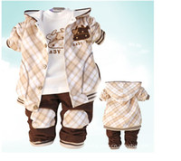 Wholesale children Outfits baby suit Cotton British grid lampwick sweat pants children sets girls clothes