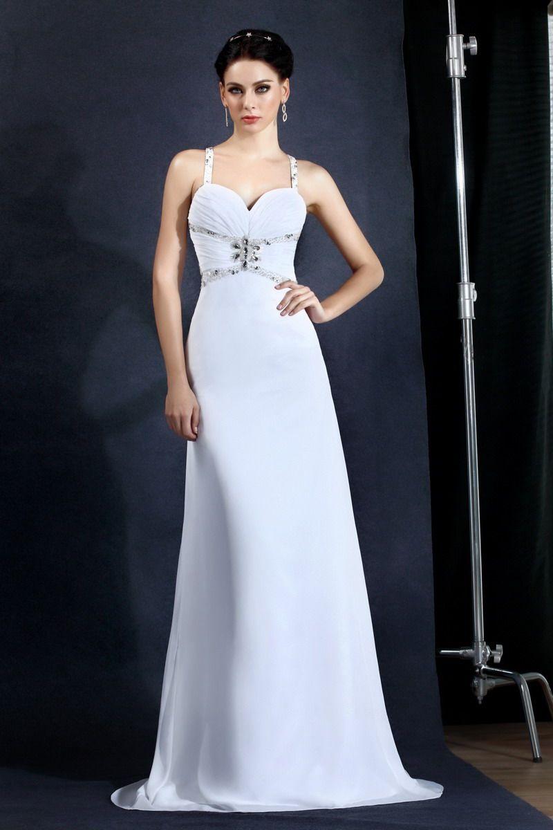 High Fashion Ladies Evening Gowns White Chiffon Court Train Sexy ...