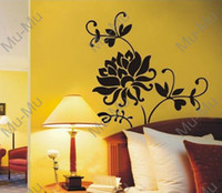 Wholesale Black flower Peel amp Stick Decorative Art Mural Wall decal paper stickers home decor decal sticker MuMu