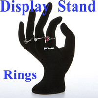 Ring wooden hand display - 50 OK Hand Ring Jewelry Showcase Display Stand Window Show Holder Black Velvet Dropshipping