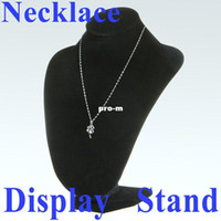Wholesale 5 Black Velvet Jewelry Necklace Pendant Bust Display Stand Easel Freeshipping Dropshipping