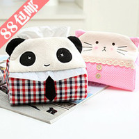 Wholesale Blues cute animal panda kitty fabric tissue box paper towel tube towel sets