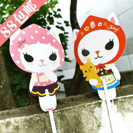 Wholesale The Blues New Jetoy cute cat long pole cartoon fan Korean paper fan Japanese women mini