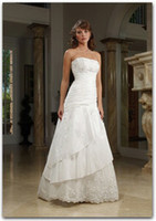 Reference Images accents beads - Custom made Wedding Dresses L A Line Strapless Brush Train Taffeta Lace Accent Bridal Gown