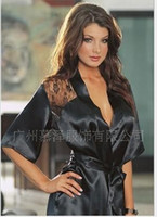 Wholesale Hottest Sexy Lingerie Night robe Satin Conjoined Clothes Coordinates Whole List Cute Girl MZFS