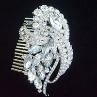 Wholesale Wedding Bridal Flower Hair Comb w Clear Rhinestone Crystals FSE04243C1