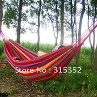 Wholesale holiday sale Canvas X cm Single Hammock Outdoor Camping Parachute Fabric Hammock Free Shippi