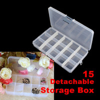 Wholesale 15 Divided Storage Box Nail Art Tips Rhinestone Glitter Detachable Clear Plastic