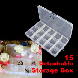 Wholesale 240 Divided Storage Box Nail Art Tips Rhinestone Glitter Detachable Clear Plastic